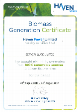 Biomass Generator Certificate